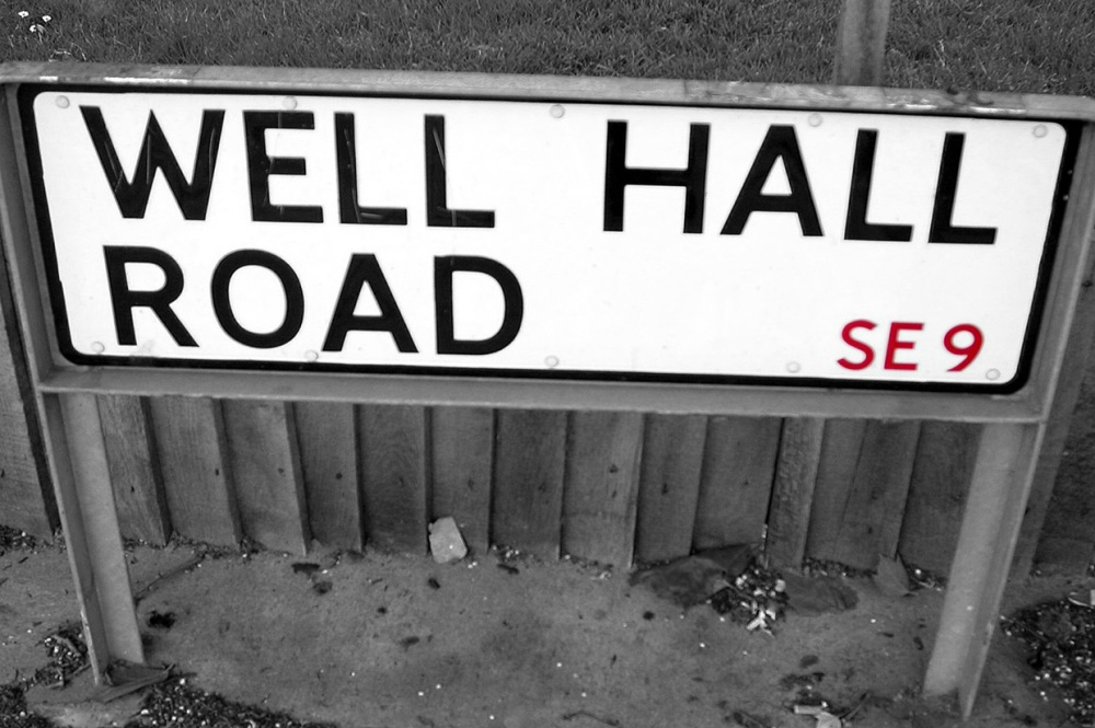 Well Hall Road sign